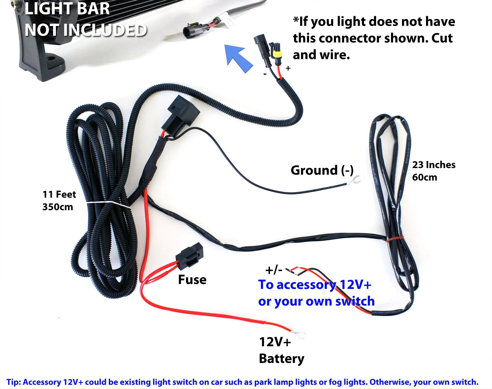 hight resolution of universal wiring relay harness switch for 36w 72w led light bars ebays www ledheadlight net images