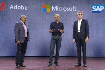 Lancement de l'Open Data Initiative par Shantanu Narayen, CEO, Adobe,Satya Nadella, CEO, Microsoft et Bill McDermott, CEO, SAP, lors de Microsoft Ignite 2018