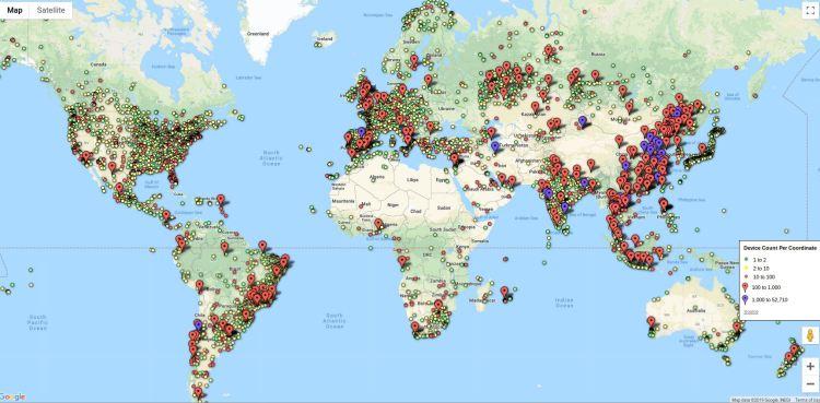 Carte des appareils affectés par les vulnérabilités de sécurité liées à iLnkP2P