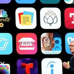 Tim Cook devant un mur d'applications