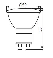 Abmessungen LED GU10 5W