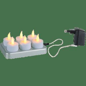 6er Set LED Teelichter aufladbar