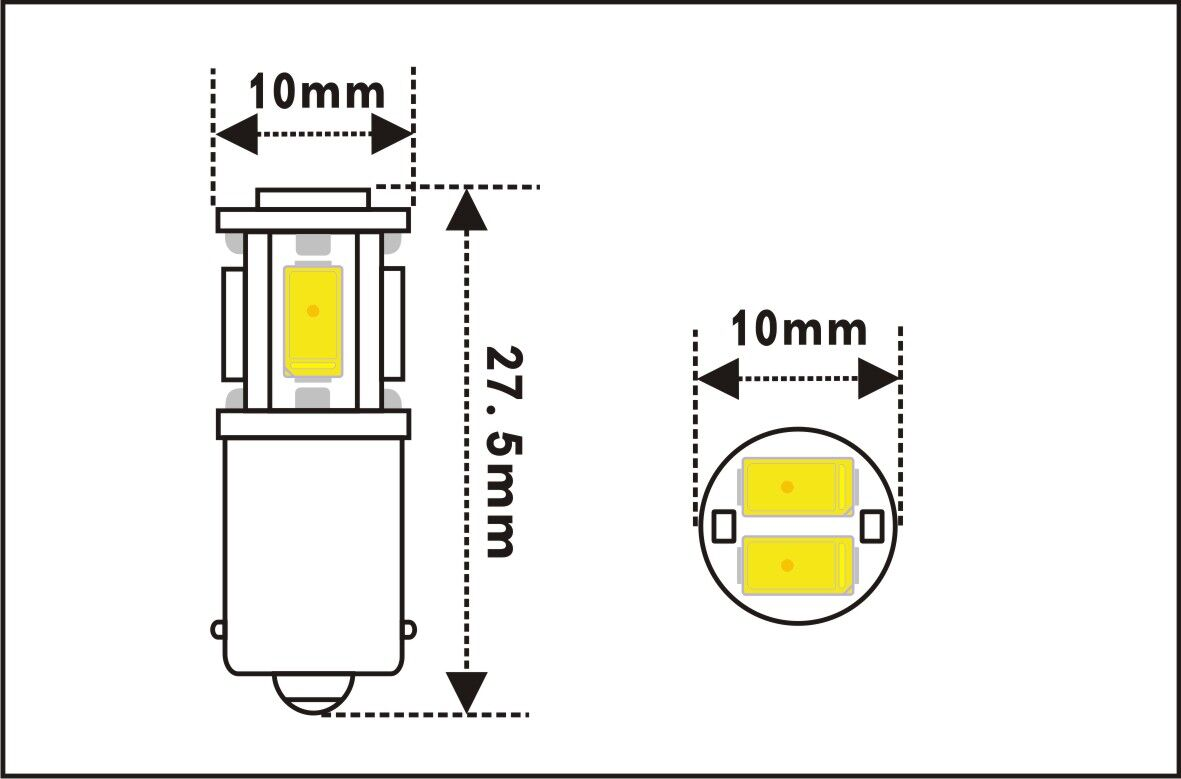 Led Miniature Bulb Ba9s Base 6 Volt 6 Smd
