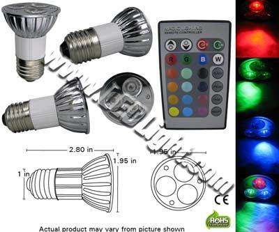 LED Par 16JDR E26E27 3 Watt RGB Light with Remote
