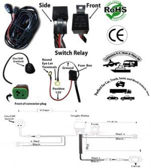 LED Light Bar Work Light Wiring Kit Single Channel Low