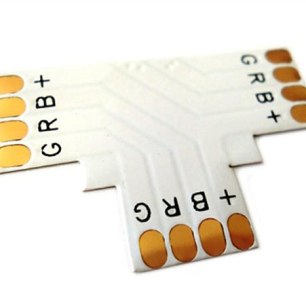 4 PZ Connettore Passo 10mm RGB Forma T per Allungare e Curvare Striscia Led RGB