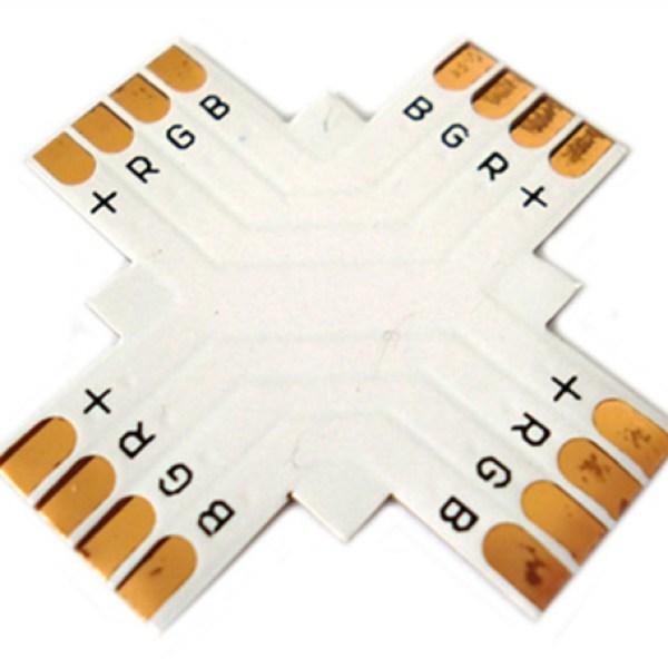4 PZ Connettore Passo 10mm RGB Forma X Croce per Allungare e Curvare Striscia Led RGB