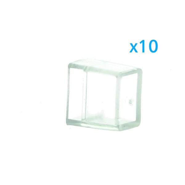 10 PZ Gommini PVC Termine Morbida 10X6 mm Per Chiusure Striscia Bobina Led Impermeabile