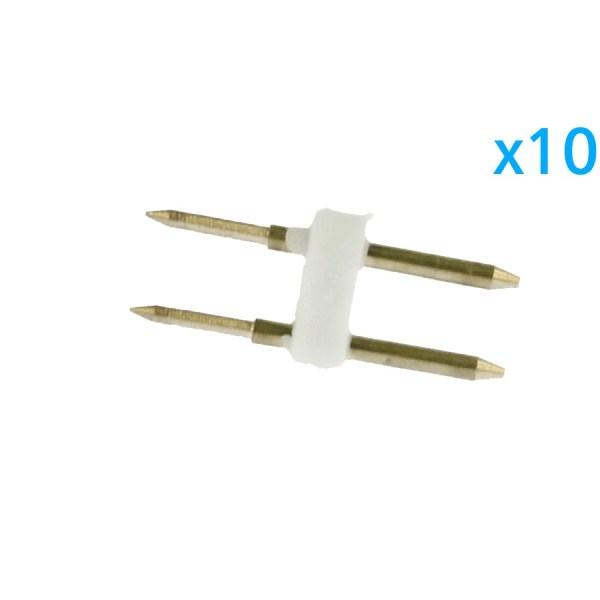 10 PZ Spina Da 2 Pin Passo 6mm Per Connessione Bobina Striscia Led Mono Colore Da 220V Con Alimentatore Trasformatore Raddrizzatore