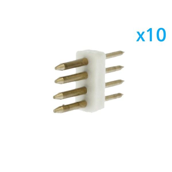 10 PZ Spina Da 4 Pin RGB Passo 9mm Per Collegamento Bobina Led RGB Da 220V Con Alimentatore Trasformatore Raddrizzatore
