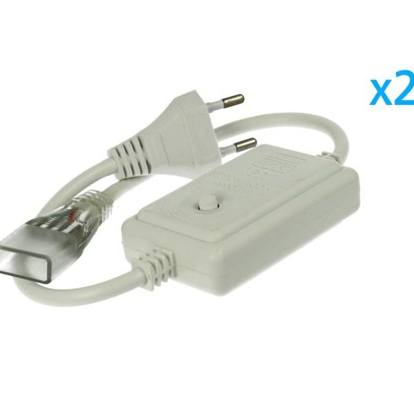 2 PZ Spina Alimentatore Trasformatore Raddrizzatore 4 Pin RGB Passo 13,5mm Con Mini Controller 8 Programmi Per Striscia Led RGB 220V