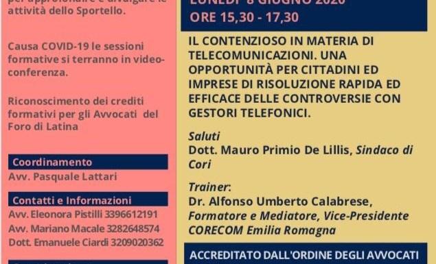 LED EVENTI – Videoconferenza su Contenzioso Telecomunicazioni. La giustizia di prossimità con lo sportello Inmediar già operante a Cori (LT)
