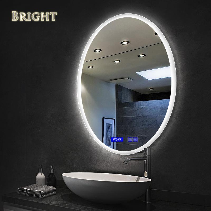 Oval 360 Edge Lighted Bathroom Mirror  Bright Sanitary