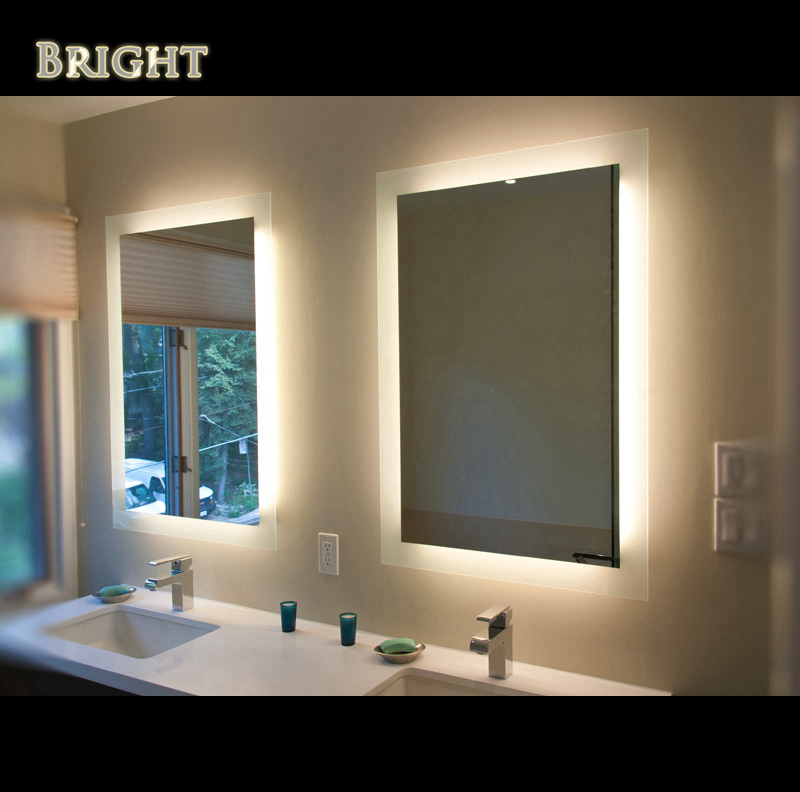 Full Frosted Edge Rectangle Lighted Mirror  China LED