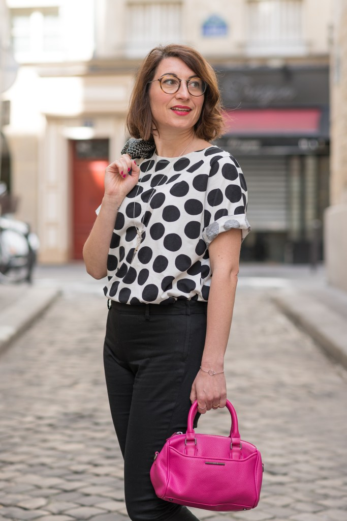 graphique pois paris blog blogueuse mode fashion derbies sac fuchsia