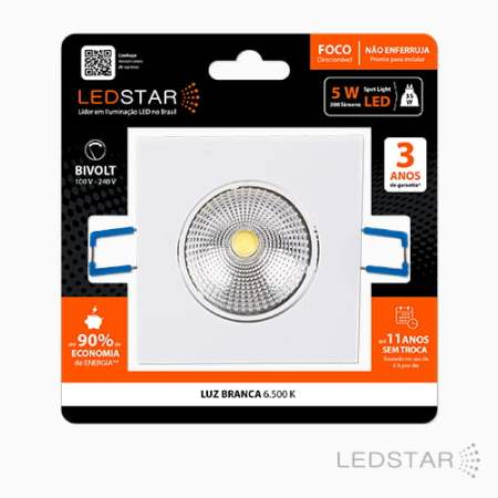 Blister Spot LED 5w Quadrado 6500K