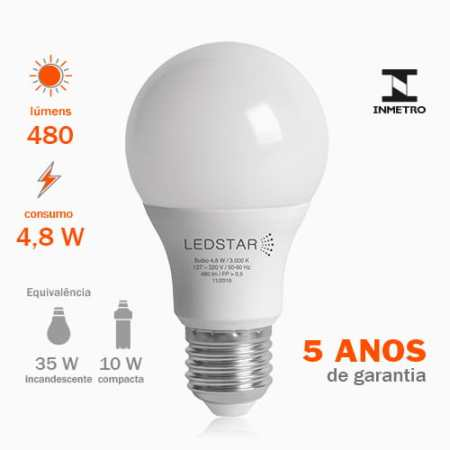 Lâmpada LED Bulbo 4,8W E27