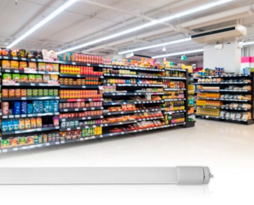 Lâmpada LED Tubular para Supermercado