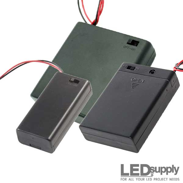 AA Battery Holders with Switch/Leads