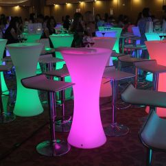 Led Table And Chairs Vinyl Chair Cleaner Glowing Bar Furniture Light Up Cocktail
