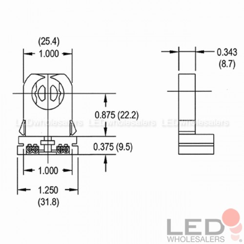 Non-Shunted T8 Lamp Holder for LED Fluorescent Tube
