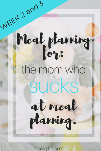 Meal planning for the mom who sucks at meal planning: Week 2 and Week 3