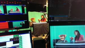 This is my studio director view. Chanelle is with Bostin Bear in the middle, and those are my control screens either side
