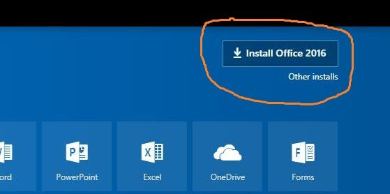 Install Office 2016 Button Screenshot