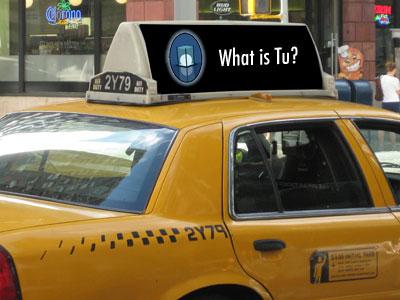 Tu Books taxi advert