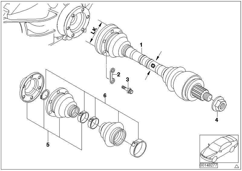 Austausch Abtriebswelle links LK=86MM/D=25MM 1er 3er
