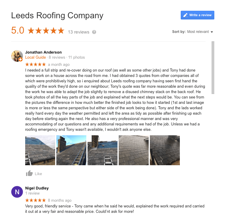 Reviews Of Leeds Roofing Company