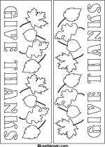 Give Thanks Banner, Coloring Craft Card or Die Cut File