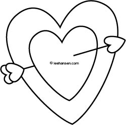 Cupid Arrow in Heart Coloring Page
