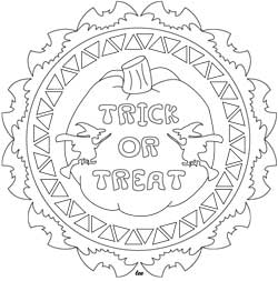 Trick or Treat Halloween Mandala Coloring Page