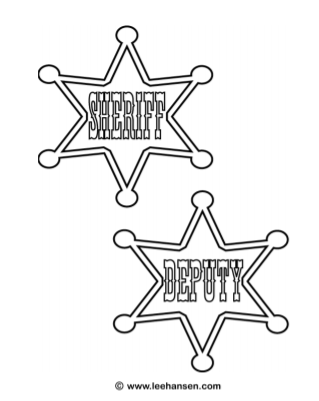 Cowboy Sheriff Badge and Deputy Badge Coloring Page