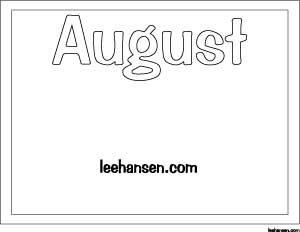 August Printable Coloring Activity Sheet