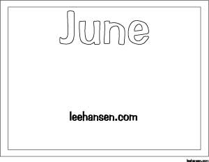 Month of June Printable Coloring Activity Sheet