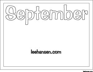 September Printable Coloring Activity Sheet