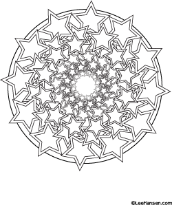 Stars Spiral Design Coloring Page