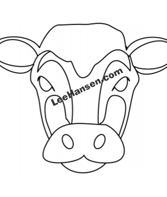 Printable Cow Face Mask to Color and Cut Out
