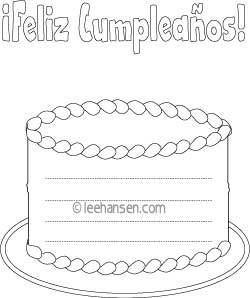 Feliz Cumpleanos Cake Shape Writing Paper with Lines
