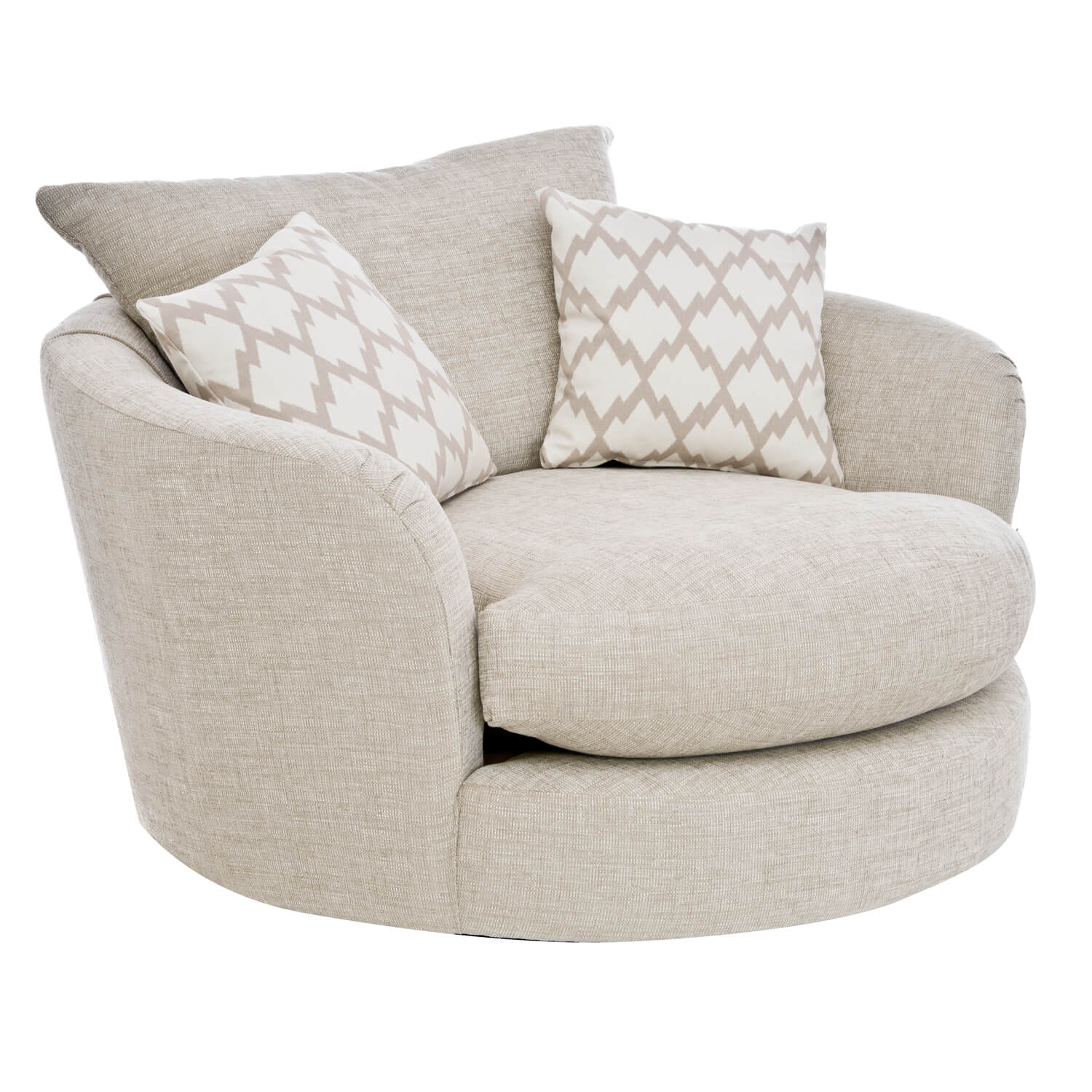 swivel chair victoria bc office riser 1 seater fabric brown cuddler