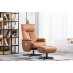 Casa Malta Swivel Faux Leather Recliner Chair Footstool