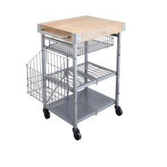 Folding Kitchen Cart Cabinets Knoxville Tn Industrial Trolley Steel Grey Wood
