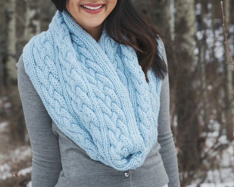 Braided Cables Winter Scarf Knitting Pattern Leelee Knits