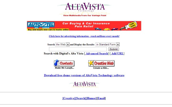 "The origins of search! If you ever used AltaVista, you got to experience one of the first dedicated ""search engines""."