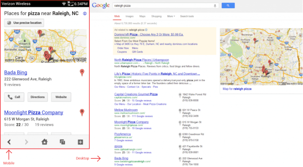 "Notice the ""Call"" and ""Directions"" buttons on mobile vs the more research-oriented desktop SERP."
