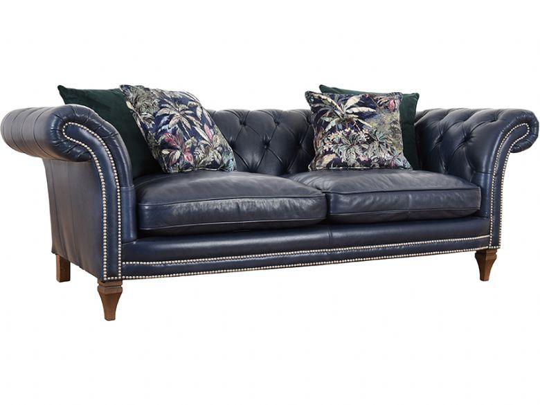chesterfield sofa bed travel trailer replacement zanzibar large lee longlands leather in aurora indigo