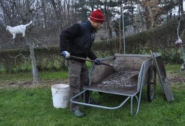 Mixing potting soil