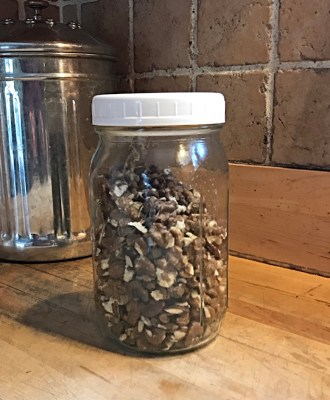 black walnuts in jar